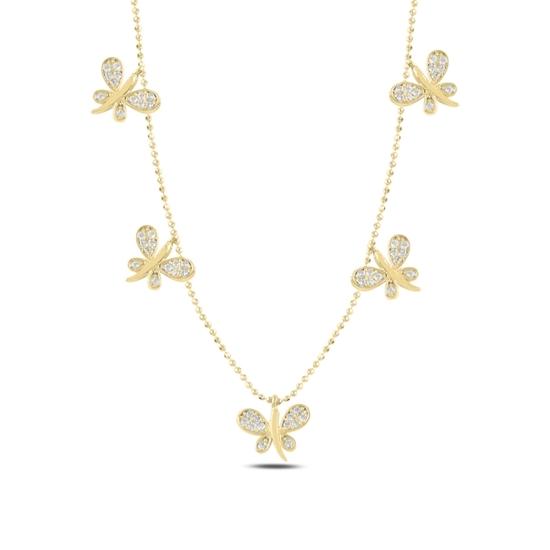 Ürün resmi: Altın Kaplama Yusufçuk Zirkon Taşlı Sallantılı Gümüş Bayan Kolye