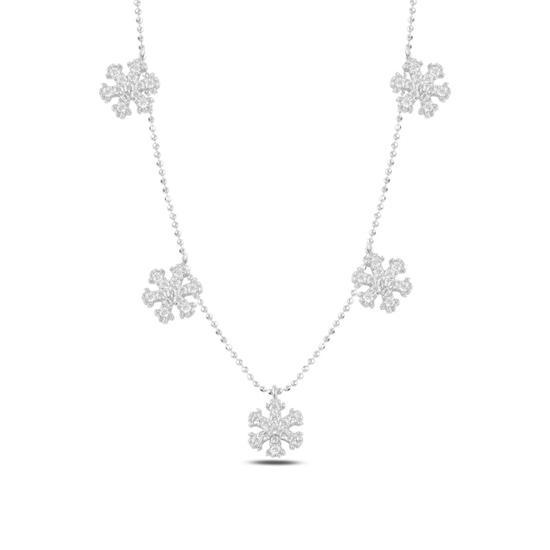 Ürün resmi: Rodyum Kaplama Kar Tanesi Zirkon Taşlı Sallantılı Gümüş Bayan Kolye
