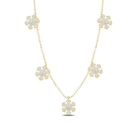 Ürün resmi: Altın Kaplama Kar Tanesi Zirkon Taşlı Sallantılı Gümüş Bayan Kolye