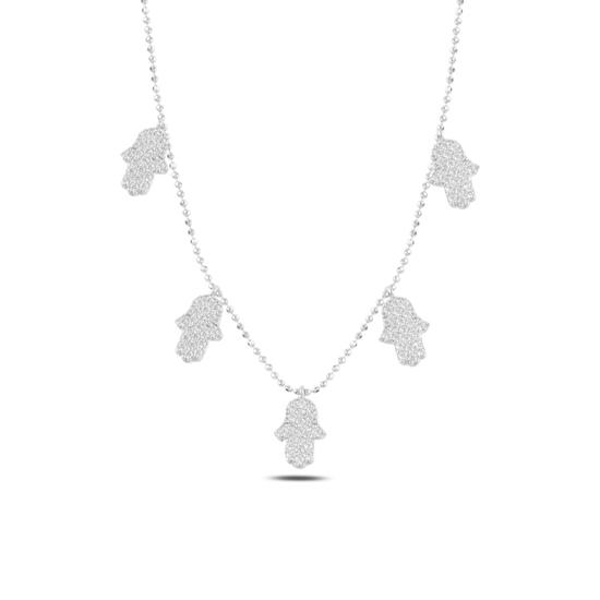 Ürün resmi: Rodyum Kaplama Fatma Ana Eli Zirkon Taşlı Sallantılı Gümüş Bayan Kolye