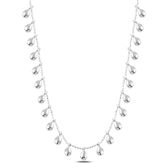 Ürün resmi: Rodyum Kaplama Damla Sallantılı Gümüş Bayan Kolye