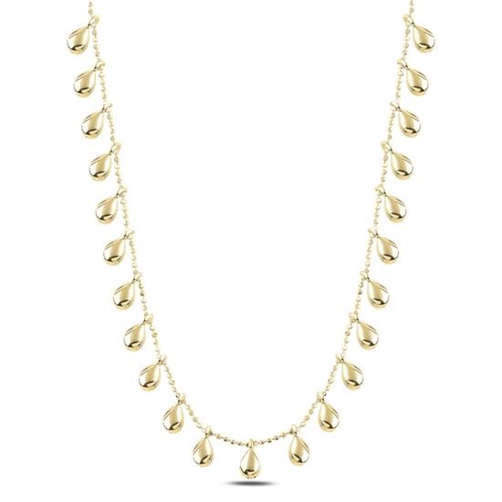 Ürün resmi: Altın Kaplama Damla Sallantılı Gümüş Bayan Kolye