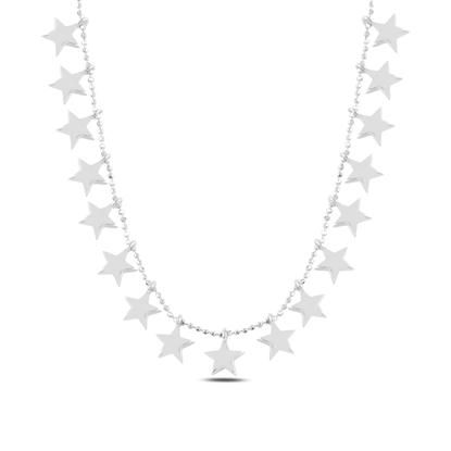 Resim Rodyum Kaplama Yıldız Sallantılı Gümüş Bayan Kolye