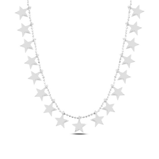 Ürün resmi: Rodyum Kaplama Yıldız Sallantılı Gümüş Bayan Kolye