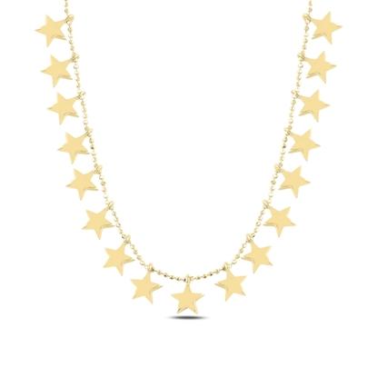 Resim Altın Kaplama Yıldız Sallantılı Gümüş Bayan Kolye