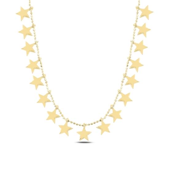 Ürün resmi: Altın Kaplama Yıldız Sallantılı Gümüş Bayan Kolye