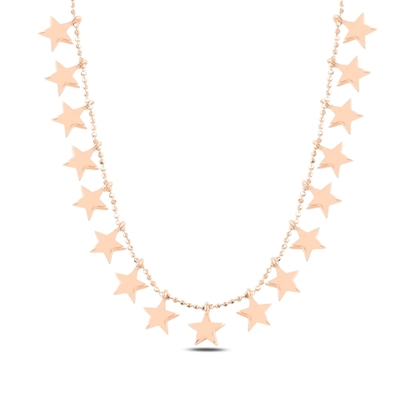 Resim Rose Kaplama Yıldız Sallantılı Gümüş Bayan Kolye