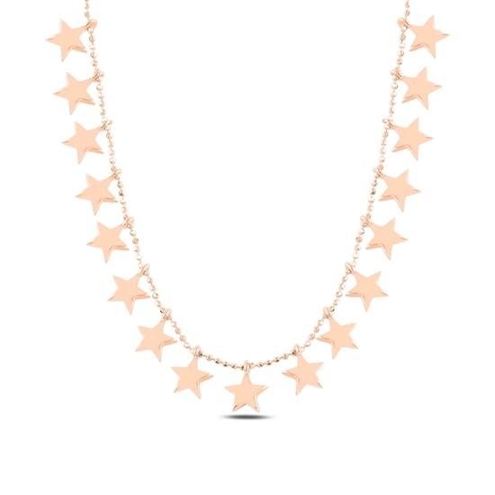 Ürün resmi: Rose Kaplama Yıldız Sallantılı Gümüş Bayan Kolye