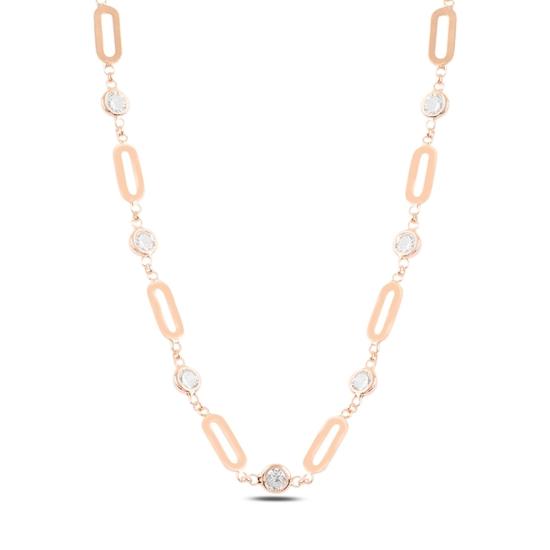 Ürün resmi: Rose Kaplama Zirkon Taşlı Gümüş Bayan Kolye