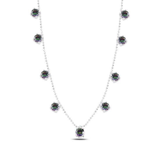 Ürün resmi: Rodyum Kaplama Mistik Topaz Zirkon Taşlı Sallantılı Gümüş Bayan Kolye