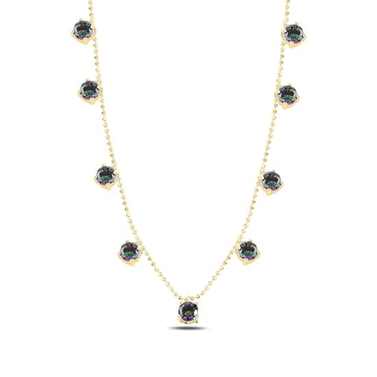 Ürün resmi: Altın Kaplama Mistik Topaz Zirkon Taşlı Sallantılı Gümüş Bayan Kolye
