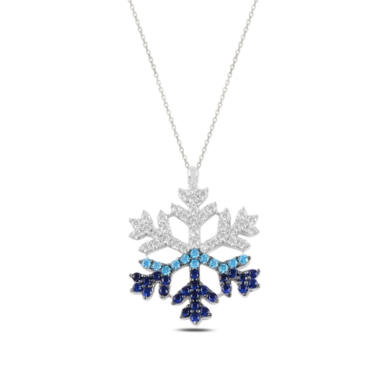 Ürün resmi: Rodyum Kaplama Zirkon Taşlı Kar Tanesi Gümüş Bayan Kolye