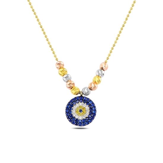 Ürün resmi: Altın Kaplama Dorica Top & Zirkon Taşlı Göz Gümüş Bayan Kolye