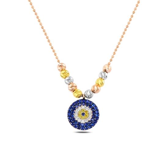 Ürün resmi: Rose Kaplama Dorica Top & Zirkon Taşlı Göz Gümüş Bayan Kolye