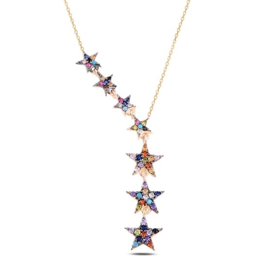 Ürün resmi: Rose Kaplama Kayan Yıldızlar Renkli Zirkon Taşlı Sallantılı Gümüş Bayan Kolye