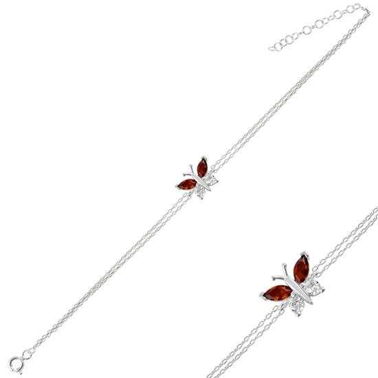 Ürün resmi: Rodyum Kaplama Garnet Zirkon (Koyu Kırmızı) Kelebek Renkli Zirkon Taşlı Çift Sıra Gümüş Bayan Zincir Bileklik