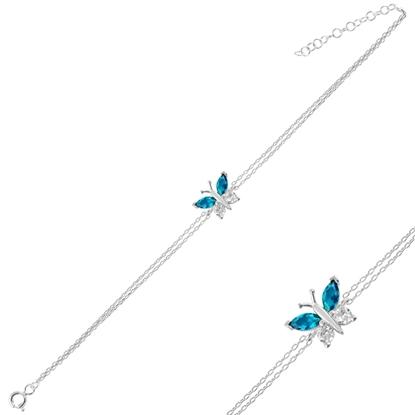 Resim Rodyum Kaplama Akuamarin Zirkon (Açık Mavi) Kelebek Renkli Zirkon Taşlı Çift Sıra Gümüş Bayan Zincir Bileklik