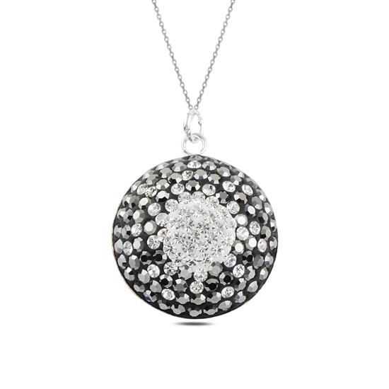 Ürün resmi: Kristal Taşlı Gümüş Bayan Kolye