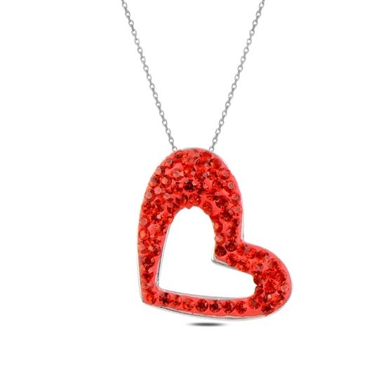 Ürün resmi: Kalp Kristal Taşlı Gümüş Bayan Kolye