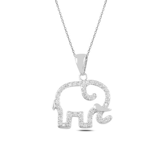 Ürün resmi: Rodyum Kaplama Fil Zirkon Taşlı Gümüş Bayan Kolye