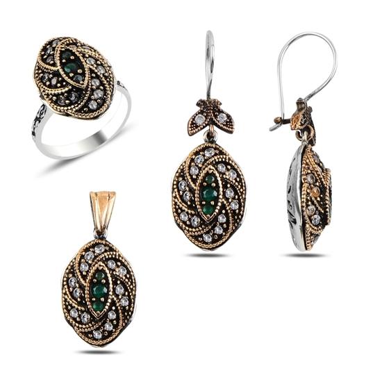 Ürün resmi: Zirkon Taşlı Otantik Gümüş Bayan Set