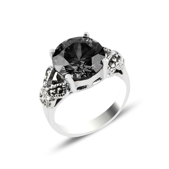 Ürün resmi: Siyah Zirkon & Markazit Taşlı Gümüş Bayan Yüzük