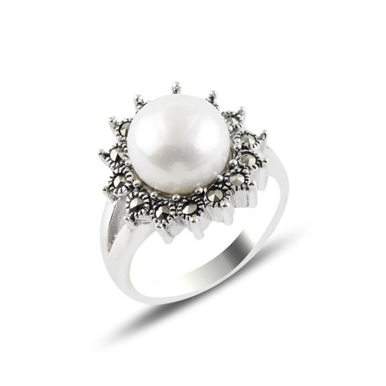 Ürün resmi: İnci & Markazit Taşlı Gümüş Bayan Yüzük