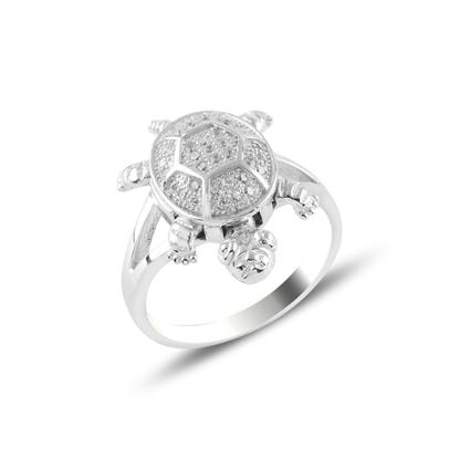 Resim Kaplumbağa Zirkon Taşlı Gümüş Bayan Yüzük