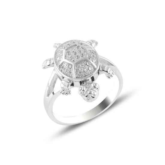 Ürün resmi: Kaplumbağa Zirkon Taşlı Gümüş Bayan Yüzük