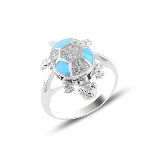 Ürün resmi: Kaplumbağa Zirkon Taşlı & Mineli Gümüş Bayan Yüzük