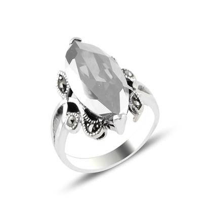 Resim Markazit & Zirkon Taşlı Gümüş Bayan Yüzük