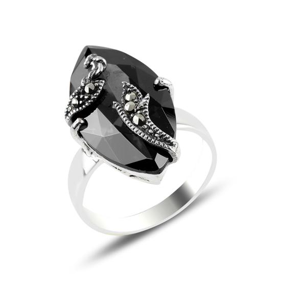 Ürün resmi: Markazit & Zirkon Taşlı Gümüş Bayan Yüzük