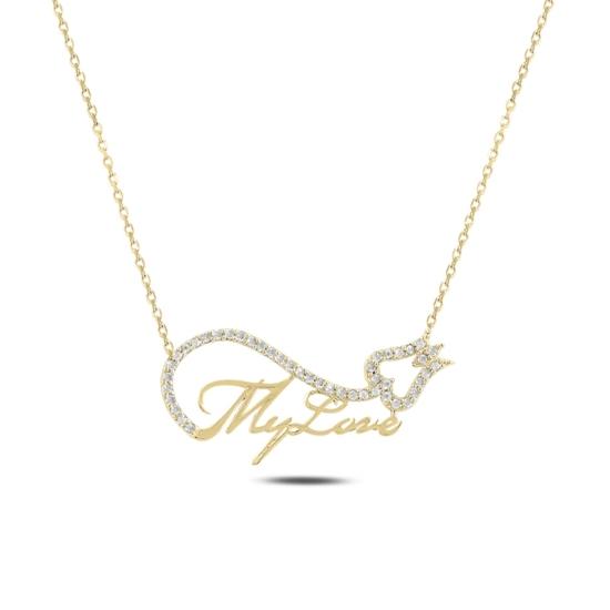 Ürün resmi: Altın Kaplama My Love & Lale Zirkon Taşlı Gümüş Bayan Kolye