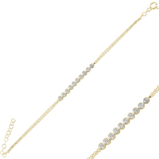 Ürün resmi: Altın Kaplama Suyolu Zirkon Taşlı Gümüş Bayan Bileklik