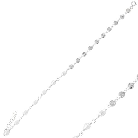Ürün resmi: Rodyum Kaplama İnci & Zirkon Taşlı Gümüş Bayan Bileklik