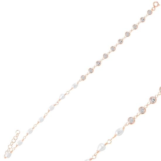Ürün resmi: Rose Kaplama İnci & Zirkon Taşlı Gümüş Bayan Bileklik