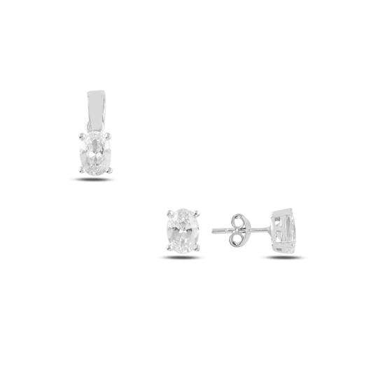 Ürün resmi: Rodyum Kaplama Tektaş Oval Zirkon Taşlı Çivili Gümüş Bayan Set