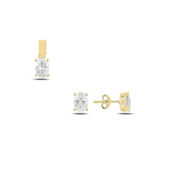 Ürün resmi: Altın Kaplama Tektaş Oval Zirkon Taşlı Çivili Gümüş Bayan Set