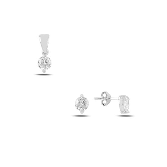 Ürün resmi: Rodyum Kaplama Tektaş Yuvarlak Zirkon Taşlı Çivili Gümüş Bayan Set