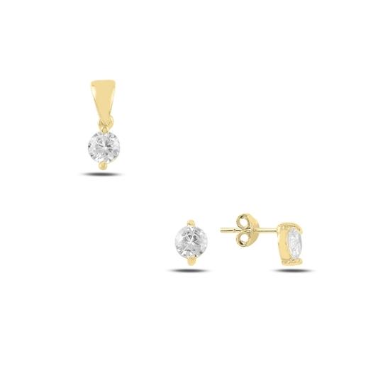 Ürün resmi: Altın Kaplama Tektaş Yuvarlak Zirkon Taşlı Çivili Gümüş Bayan Set