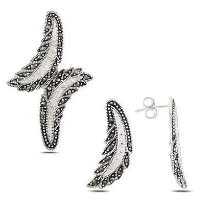 Resim Markazit Taşlı Gümüş İkili Gümüş Bayan Set