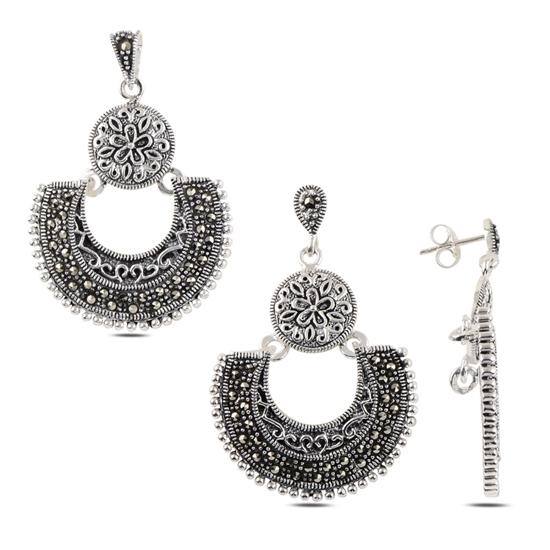Ürün resmi: Markazit Taşlı Gümüş İkili Gümüş Bayan Set
