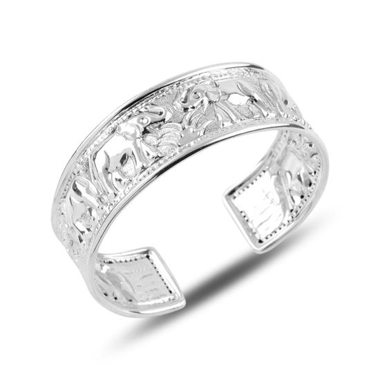 Ürün resmi: Altı Açık Fil Desenli Taşsız Gümüş Bilezik