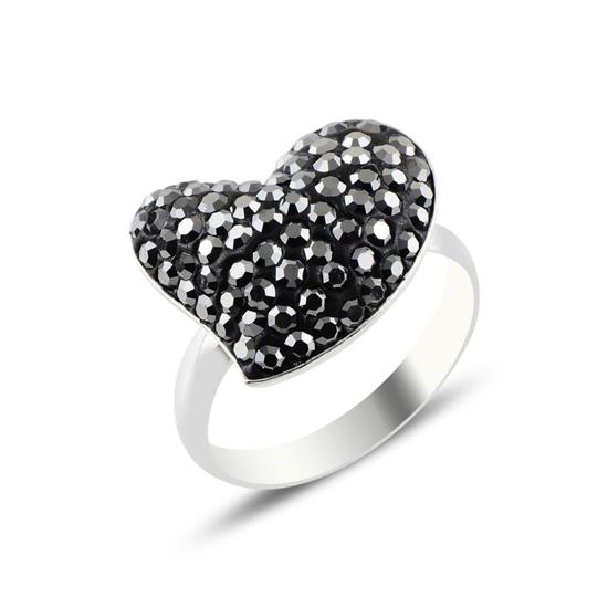 Ürün resmi: Kristal Taşlı Kalp Gümüş Bayan Yüzük