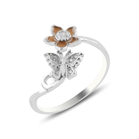 Ürün resmi: Rodyum Kaplama Zirkon Taşlı Kelebek & Papatya Ayarlanabilir Boylu Gümüş Bayan Yüzük