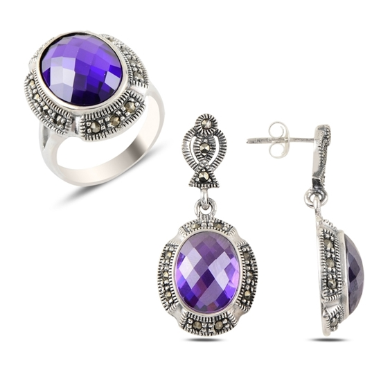 Ürün resmi: Ametist Zirkon & Markazit Taşlı Gümüş Bayan Set