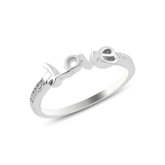 Ürün resmi: Rodyum Kaplama Zirkon Taşlı Love Gümüş Bayan Yüzük