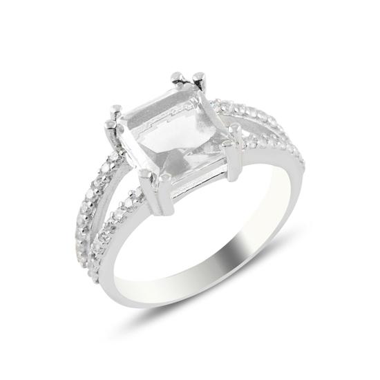 Ürün resmi: Rodyum Kaplama Beyaz Zirkon Taşlı Gümüş Bayan Yüzük