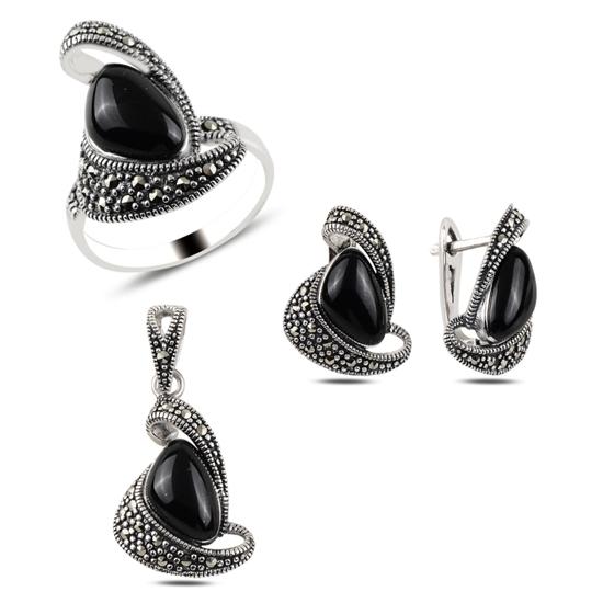 Ürün resmi: Oniks & Markazit Taşlı Gümüş Bayan Set
