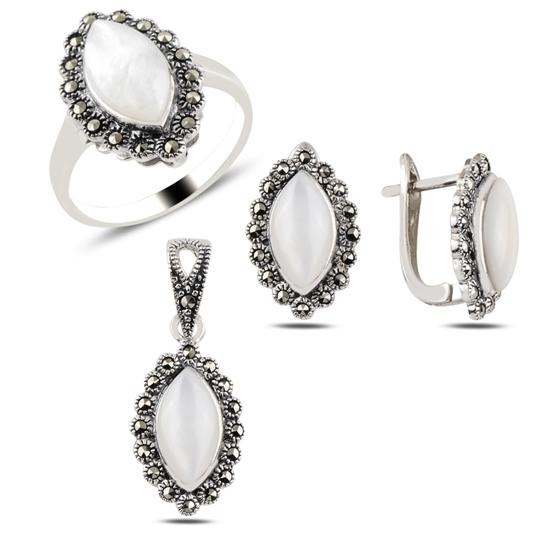 Ürün resmi: Sedef & Markazit Taşlı Gümüş Bayan Set